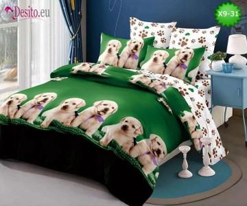 Спално бельо от 100% памук, 6 части - двулицево, с код X9-31