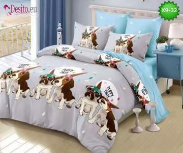 Спално бельо от 100% памук, 6 части - двулицево, с код X9-32