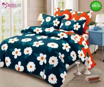 Спално бельо от 100% памук, 6 части - двулицево, с код X9-33