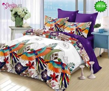 Спално бельо от 100% памук, 6 части - двулицево, с код X9-34