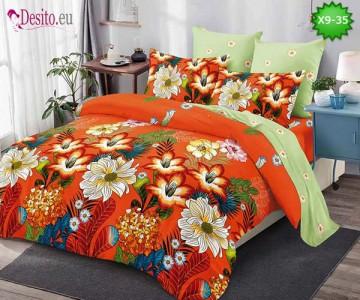 Спално бельо от 100% памук, 6 части - двулицево, с код X9-35