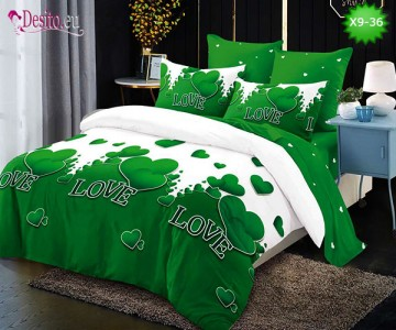 Спално бельо от 100% памук, 6 части - двулицево, с код X9-36
