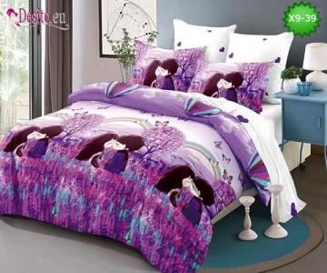 Спално бельо от 100% памук, 6 части - двулицево, с код X9-39