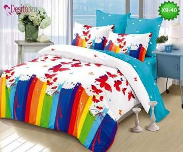 Спално бельо от 100% памук, 6 части - двулицево, с код X9-40