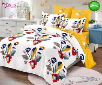 Спално бельо от 100% памук, 6 части - двулицево, с код X9-41