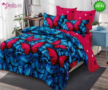 Спално бельо от 100% памук, 6 части - двулицево, с код X9-42