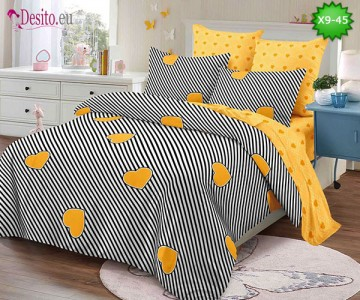 Спално бельо от 100% памук, 6 части - двулицево, с код X9-45