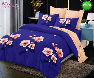 Спално бельо от 100% памук, 6 части - двулицево, с код X9-50
