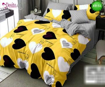 Спално бельо от 100% памук, 6 части - двулицево, с код X9-51