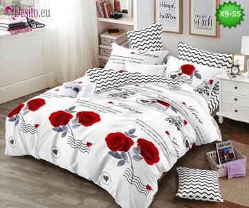 Спално бельо от 100% памук, 6 части - двулицево, с код X9-55