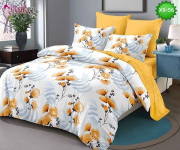 Спално бельо от 100% памук, 6 части - двулицево, с код X9-56