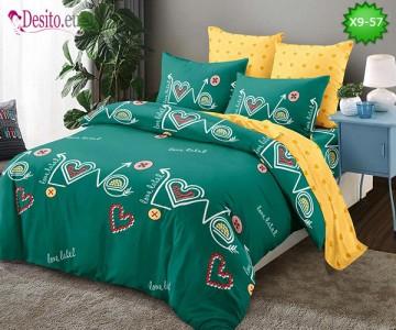 Спално бельо от 100% памук, 6 части - двулицево, с код X9-57