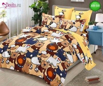 Спално бельо от 100% памук, 6 части - двулицево, с код X9-59