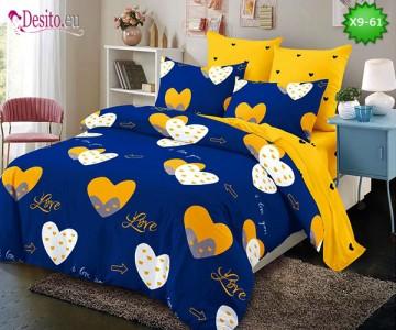 Спално бельо от 100% памук, 6 части - двулицево, с код X9-61