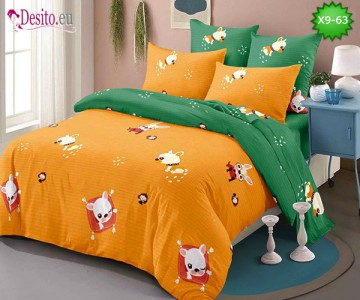 Спално бельо от 100% памук, 6 части - двулицево, с код X9-63