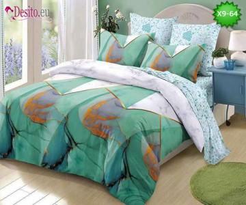 Спално бельо от 100% памук, 6 части - двулицево, с код X9-64