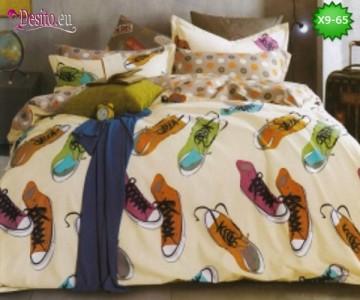 Спално бельо от 100% памук, 6 части - двулицево, с код X9-65