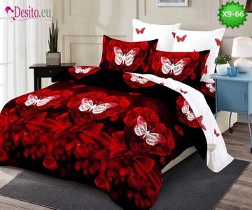 Спално бельо от 100% памук, 6 части - двулицево, с код X9-66