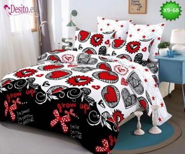 Спално бельо от 100% памук, 6 части - двулицево, с код X9-68