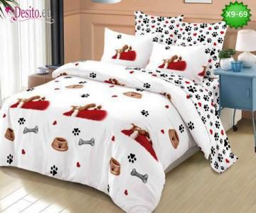 Спално бельо от 100% памук, 6 части - двулицево, с код X9-69