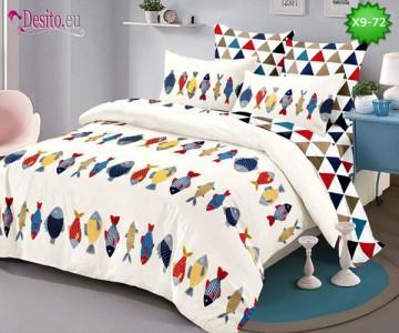 Спално бельо от 100% памук, 6 части - двулицево, с код X9-72