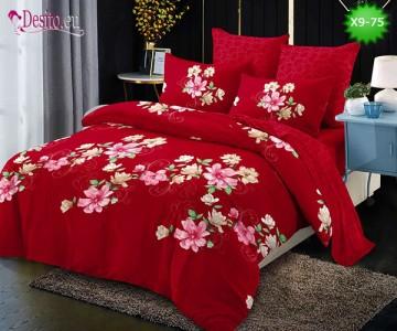 Спално бельо от 100% памук, 6 части - двулицево, с код X9-75