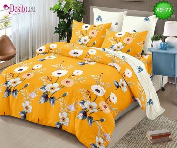 Спално бельо от 100% памук, 6 части - двулицево, с код X9-77