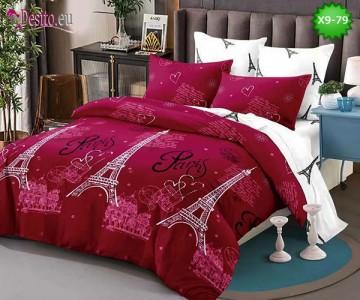 Спално бельо от 100% памук, 6 части - двулицево, с код X9-79
