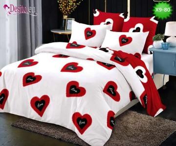 Спално бельо от 100% памук, 6 части - двулицево, с код X9-80