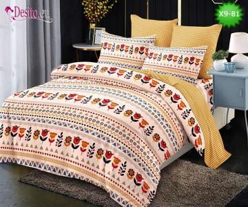 Спално бельо от 100% памук, 6 части - двулицево, с код X9-81