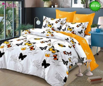 Спално бельо от 100% памук, 6 части - двулицево, с код X9-82