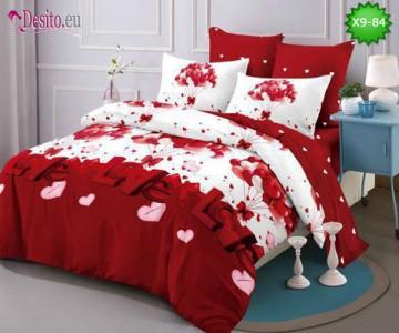 Спално бельо от 100% памук, 6 части - двулицево, с код X9-84