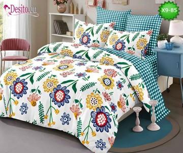 Спално бельо от 100% памук, 6 части - двулицево, с код X9-85