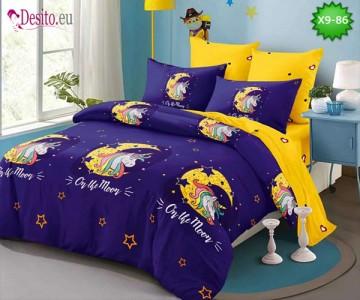 Спално бельо от 100% памук, 6 части - двулицево, с код X9-86