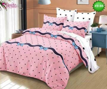 Спално бельо от 100% памук, 6 части - двулицево, с код X9-88