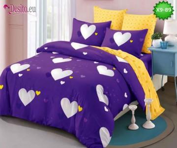 Спално бельо от 100% памук, 6 части - двулицево, с код X9-89