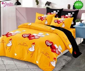 Спално бельо от 100% памук, 6 части - двулицево, с код X9-91