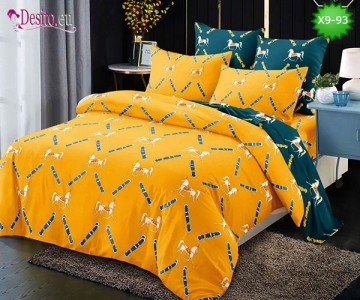 Спално бельо от 100% памук, 6 части - двулицево, с код X9-93