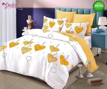 Спално бельо от 100% памук, 6 части - двулицево, с код X9-95