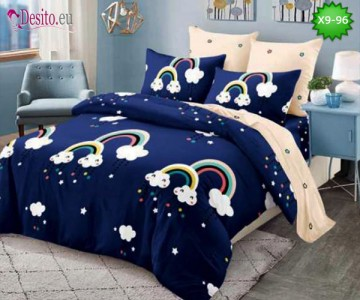 Спално бельо от 100% памук, 6 части - двулицево, с код X9-96