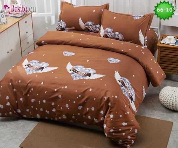 Спално бельо от 100% памук, 4 части и чаршаф с ластик с код 66-10