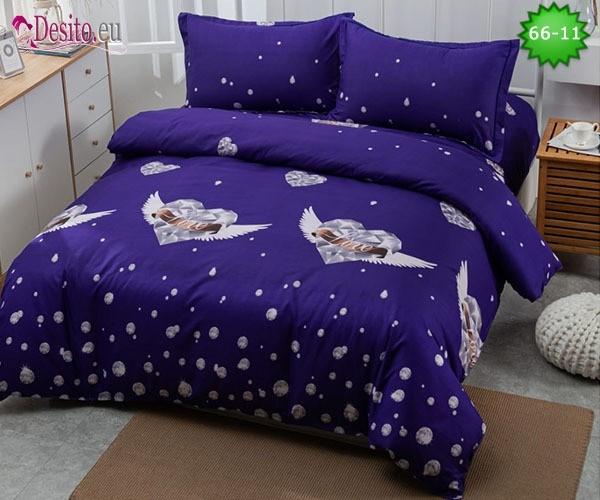 Спално бельо от 100% памук, 4 части и чаршаф с ластик с код 66-11