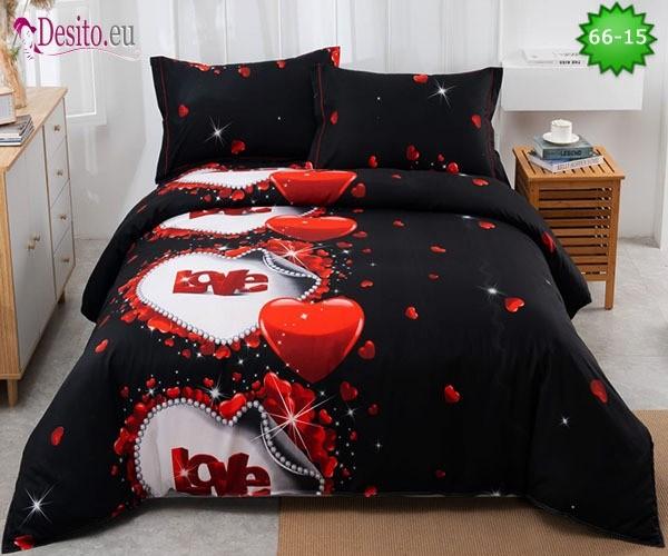 Спално бельо от 100% памук, 4 части и чаршаф с ластик с код 66-15