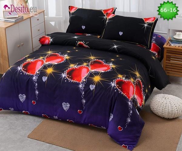 Спално бельо от 100% памук, 4 части и чаршаф с ластик с код 66-16