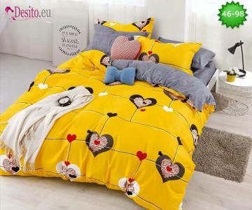 Спално бельо от 100% памук, 6 части - двулицево, с код 46-98
