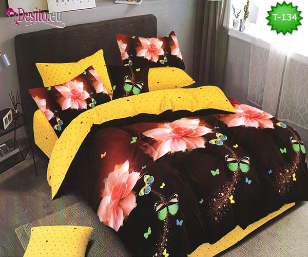 Спално бельо от 100% памук, 6 части - двулицево, с код T-134
