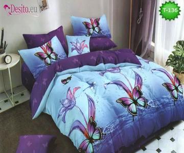 Спално бельо от 100% памук, 6 части - двулицево, с код T-136