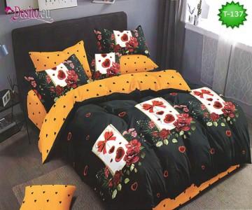 Спално бельо от 100% памук, 6 части - двулицево, с код T-137