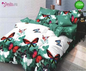 Спално бельо от 100% памук, 6 части - двулицево, с код T-139