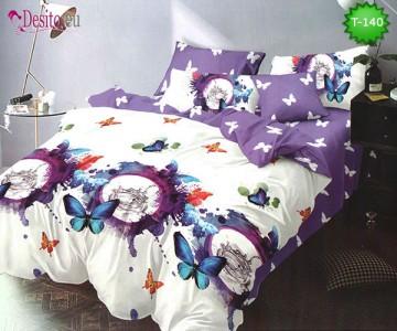 Спално бельо от 100% памук, 6 части - двулицево, с код T-140